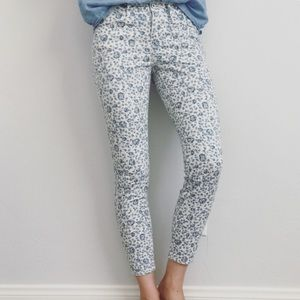 Madewell Blue & White Floral Denim Skinny Jeans